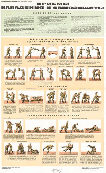 0707. Военный ретро плакат: Приемы нападения и самозащиты (часть2)