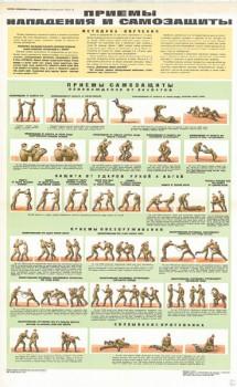 0708. Военный ретро плакат: Приемы нападения и самозащиты (часть3)