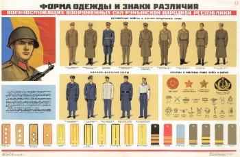 0709. Военный ретро плакат: Форма одежды и знаки различия военнослужащих вооруженных сил Румынской Народной Республики