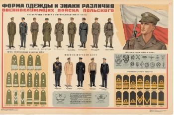 0711. Военный ретро плакат: Форма одежды и знаки различия военнослужащих вооруженных Войска Польского