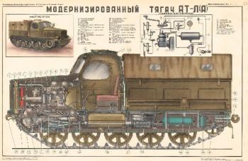 0723. Военный ретро плакат: Модернизированный тягач АТ-Л(А)