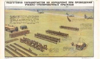 0728. Военный ретро плакат: Подготовка парашютистов на аэродроме при проведении учебно-тренировочных прыжков