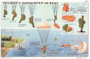 0733. Военный ретро плакат: Прыжки с парашютом на воду (вариант 2)