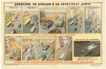 0750. Военный ретро плакат: Движения по улицам и на перегонах дорог