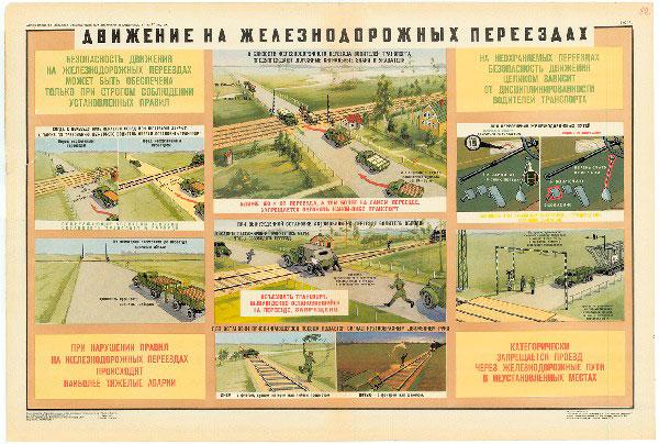 0756. Военный ретро плакат: Движения на железнодорожных переездах