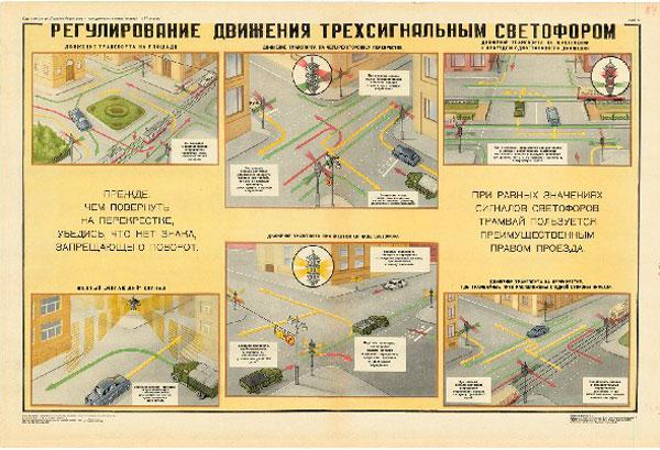 0758. Военный ретро плакат: Регулирование движения трехсигнальным светофором