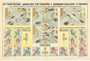 0759. Военный ретро плакат: Регулирование движения светофором с дополнительными секциями