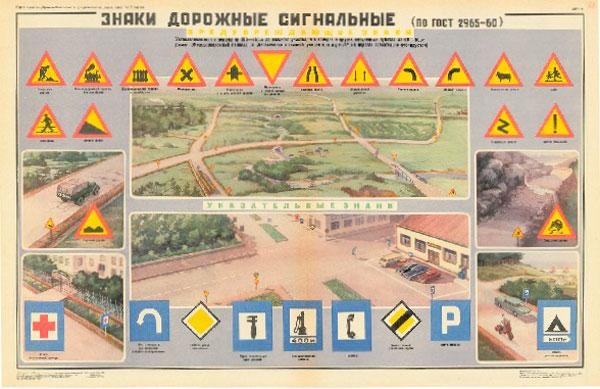 0760. Военный ретро плакат: Знаки дорожные сигнальные