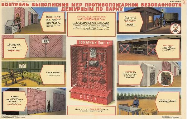 0274. Военный ретро плакат: Контроль выполнения мер противопожарной безопасности дежурным по парку