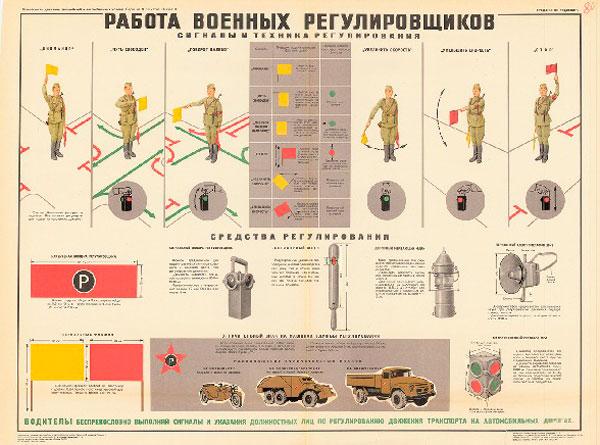 0768. Военный ретро плакат: Работа военных регулировщиков