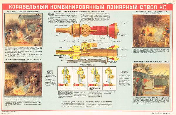 0797. Военный ретро плакат: Корабельный пожарный ствол КС