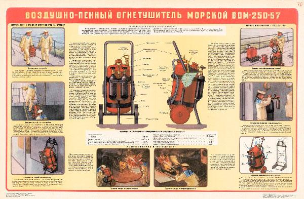 0800. Военный ретро плакат: Воздушно-пенный огнетушитель морской ВОМ-250-57