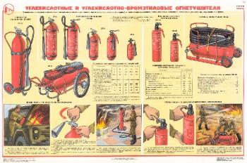 0804. Военный ретро плакат: Углекислотные и углекислотно-бромэтиловые огнетушители