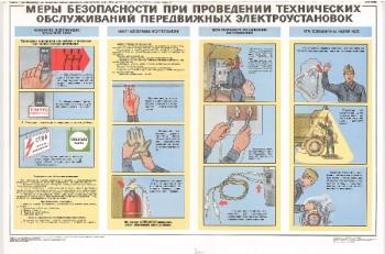 0806. Военный ретро плакат: Меры безопасности при проведении технических обслуживаний передвижных электроустановок