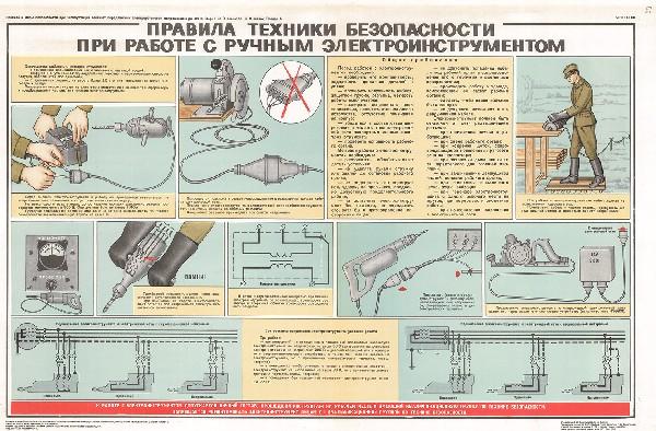0807. Военный ретро плакат: Правила техники безопасности при работе с ручным инструментом