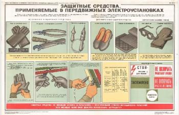 0808. Военный ретро плакат: Защитные средства применяемые в передвижных электроустановках