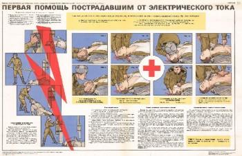 0810. Военный ретро плакат: Первая помощь пострадавшим от электрического тока
