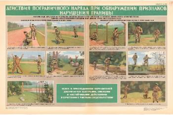 0820. Военный ретро плакат: Действия пограничного отряда при обнаружении признаков нарушения границы