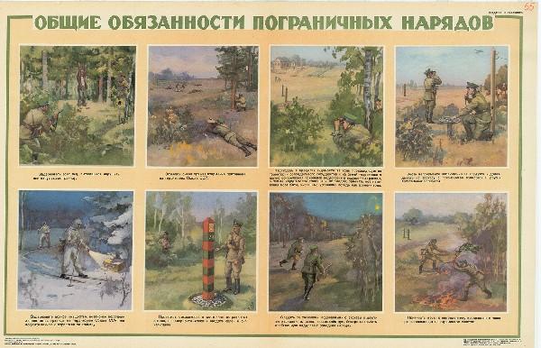 0828. Военный ретро плакат: Общие обязанности пограничных нарядов