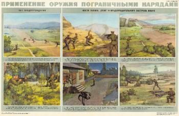 0829. Военный ретро плакат: Применение оружия пограничными нарядами