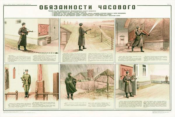 0854. Военный ретро плакат: Обязанности часового