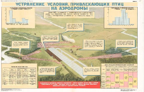 0860. Военный ретро плакат: Устранение условий, привлекающих птиц на аэродромы