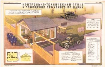 0884. Военный ретро плакат: Контрольно-технический пункт и помещение дежурного по парку