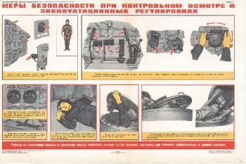 0898. Военный ретро плакат: Меры безопасности при контрольном осмотре и эксплуатационных регулировках