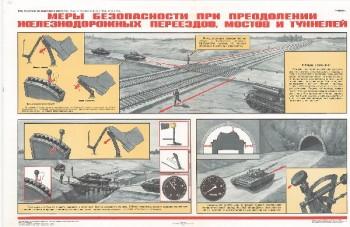 0899. Военный ретро плакат: Меры безопасности при преодолении железнодорожных переездов, мостов и туннелей