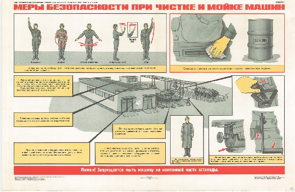 0902. Военный ретро плакат: Меры безопасности при чистке и мойке машин