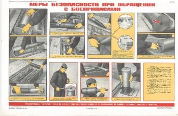 0903. Военный ретро плакат: Меры безопасности при обращении с боеприпасами
