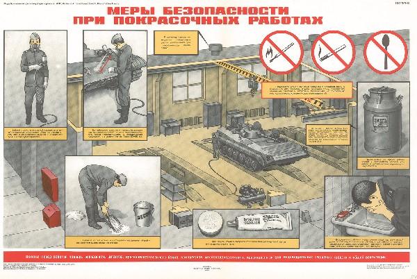 0905. Военный ретро плакат: Меры безопасности при покрасочных работах