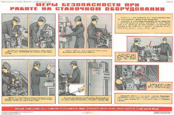 0909. Военный ретро плакат: Меры безопасности при работе на станочном оборудовании