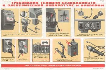 0910. Военный ретро плакат: Требования техники безопасности к электрической аппаратуре и приборам