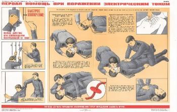 0913. Военный ретро плакат: Первая помощ при поражении электрическим током