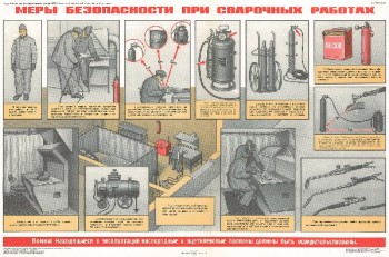 0912. Военный ретро плакат: Меры безопасности при сварочных работах