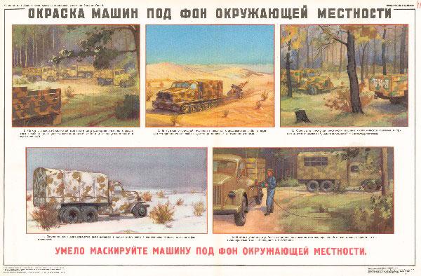 0919. Военный ретро плакат: Окраска машин под фон окружающей местности