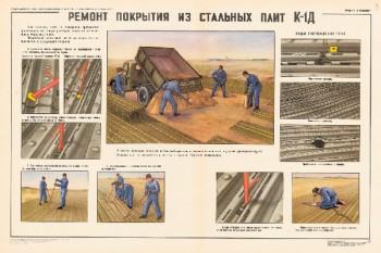 0938. Военный ретро плакат: Ремонт покрытия из стальных плит К1-Д