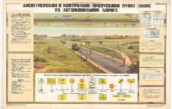 0939. Военный ретро плакат: Диспетчерский и контрольно-пропускной пункт (ДКПП) на автомобильной дороге