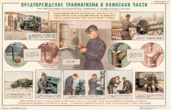 0940. Военный ретро плакат: Предупреждение травматизма в воинской части