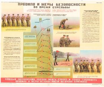 0946. Военный ретро плакат: Правила и меры безопасности во время стрельбы