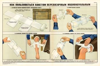 0332. Военный ретро плакат: Как пользоваться пакетом перевязочным индивидуальным