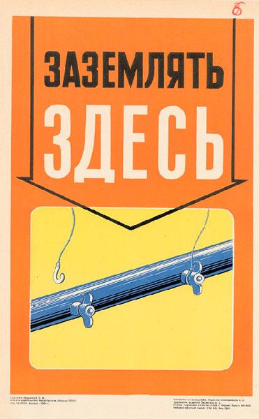1517. Советский плакат: Заземлять здесь