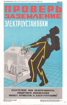 1520. Советский плакат: Проверь заземление электроустановки