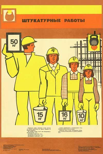 1521. Советский плакат: Штукатурные работы