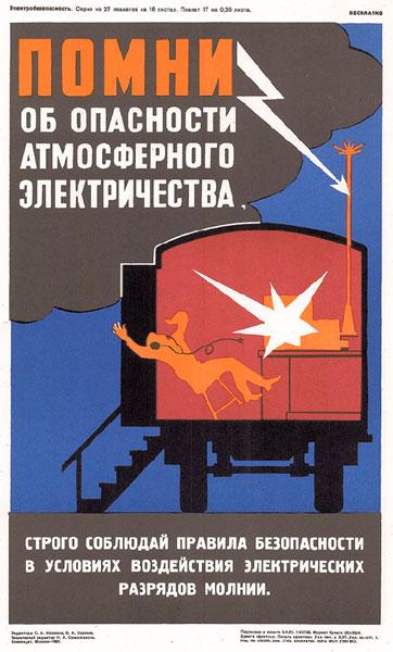1523. Советский плакат: Помни об опасности атмосферного электричества