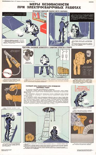1548. Советский плакат: Меры безопасности при электросварочных работах