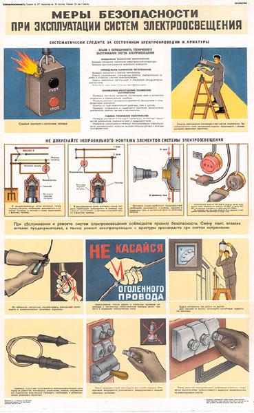 1549. Советский плакат: Меры безопасности при эксплуатации систем электроосвещения