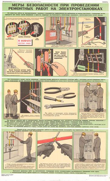 1551. Советский плакат: Меры безопасности при проведении ремонтных работ на электроустановках