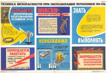 1569. Советский плакат: Техника безопасности при эксплуатации установки ЗУ-СЦ